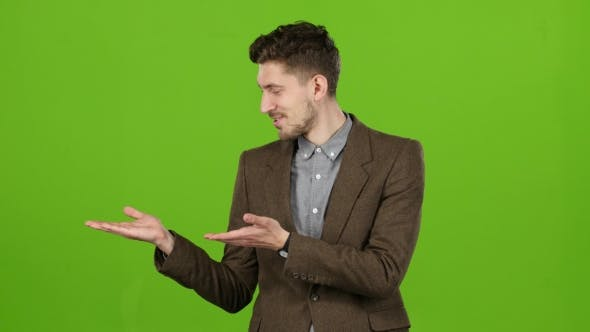 Thumbnail for Guy Cute Leading Advertises Quality Goods for People. Green Screen