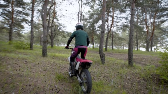 Thumbnail for Extreme Cross Road Riding. Biker on Enduro Bike Riding Motocross in the Forest.