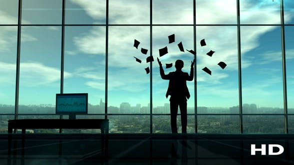 Thumbnail for Businessman Spreading Paper By The Office Window