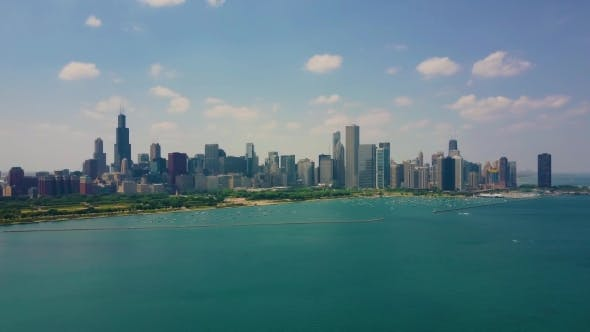 Thumbnail for Aerial Video of Chicago, During the Sanny Day. Panoramic View