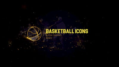 11 Basketball Icons Footage/ Sports and Actions/ Light and Gold Paricle/ NBA Games TV Broadcast Id