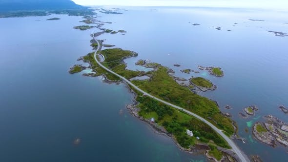 Cover Image for Atlantic Ocean Road Aerial Footage Norway