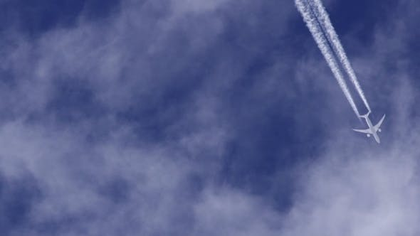 Airplane Jet Layer, White Trace Vapour By Day