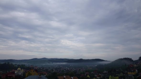 Thumbnail for Morning Fog in Mountains Village  of Cloudy Morning