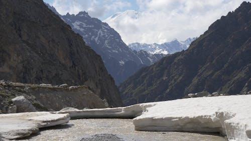 Snow on Mountain River on Big Altitude