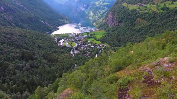 Cover Image for Geiranger Fjord, Beautiful Nature Norway Aerial Footage.