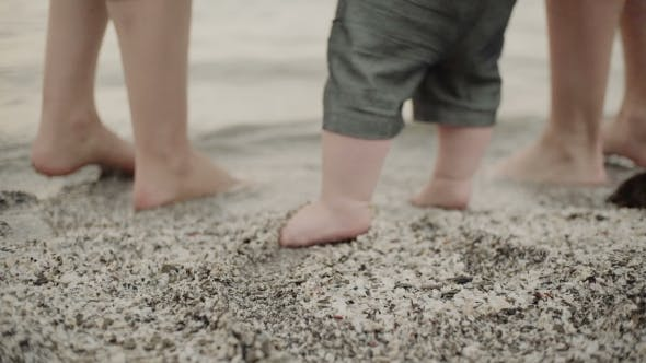 Cover Image for Baby First Steps on the Sand Whit Parents.  of Feet