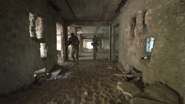 Thumbnail for Solders with Guns Entering Abandoned Building