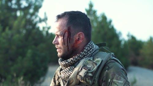 Injured Soldier Looking Away