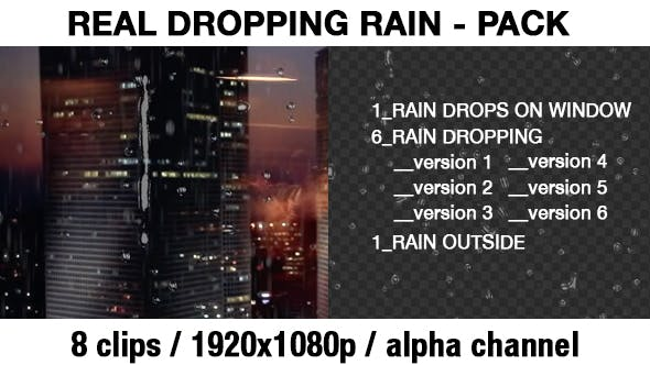 Thumbnail for Transparent Rain Drops - Rain Dropping - Real Rain Effect