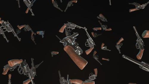 Schwebende Revolver vor einem dunklen Hintergrund
