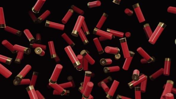 Thumbnail for Floating Red Shotgun Shells Against a Dark Background