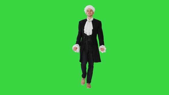 Thumbnail for Man in Old-fashioned Laced Frock Coat and White Wig Walking in a Mannered Way Looking at Camera on a