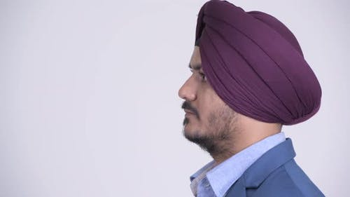 Profile View of Bearded Indian Sikh Businessman