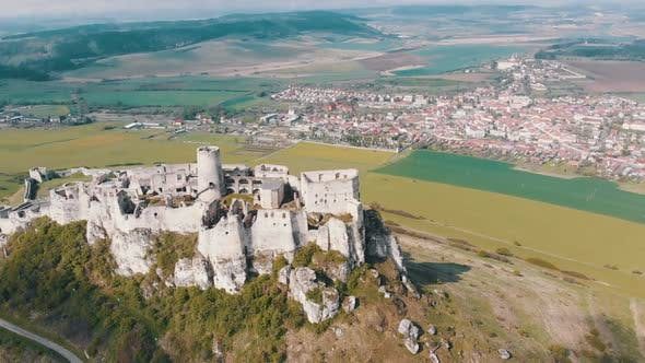 Cover Image for Aerial View on Spissky Hrad. Slovakia. The Ruins of Stone Castle on the Hill
