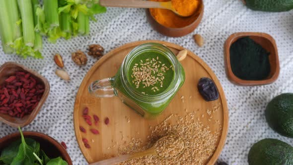 Thumbnail for Healthy Green Smoothie With Superfoods.