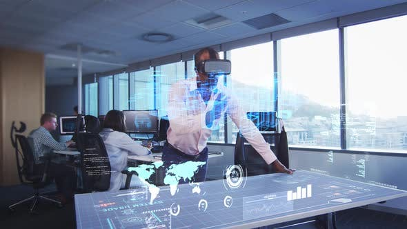 Animation of a businessman wearing a VR headset with a 3d plan on a table