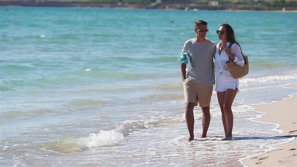 Thumbnail for Young Couple on White Beach During Summer Vacation