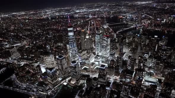 Thumbnail for Wide angle view of the Financial district at Night as seen from a helicopter