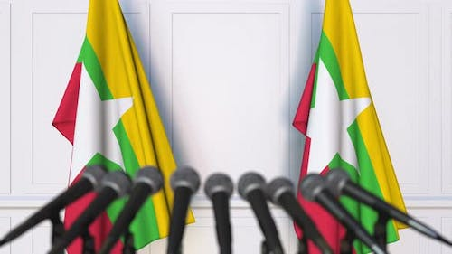 Flags of Myanmar and Microphones