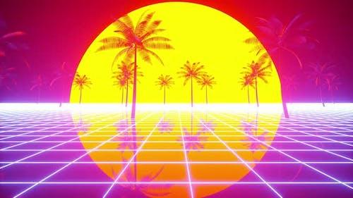 Retrowave Sun and Palms