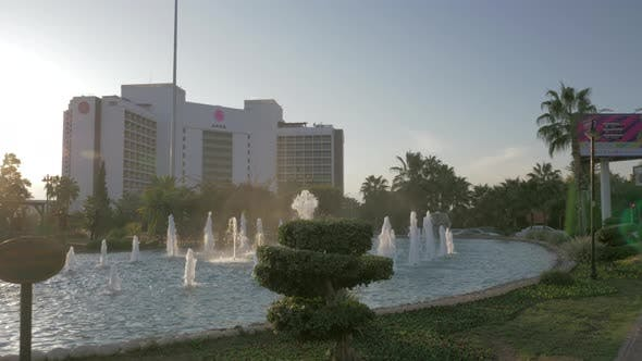 Akra Hotel and dancing fountains in Antalya, Turkey