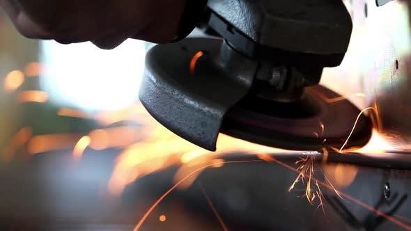 Thumbnail for Sparks From Grinder at Workshop