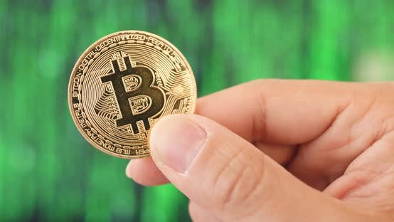 Thumbnail for Hand Holding Bitcoin Over Green Background