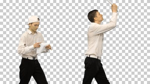 Three guys checking documents while dancing in a row, Alpha Channel
