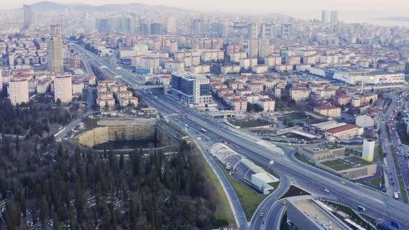Cover Image for Istanbul Yavuz Sultan Selim Bridge Entrance Aerial View 9