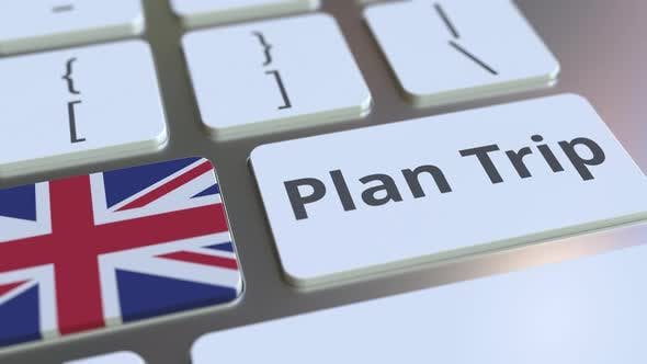 Cover Image for PLAN TRIP Text and Flag of the UK on the Computer Keyboard