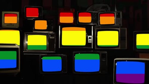 The Rainbow Flag or LGBTQ Pride Flag, on Retro TVs.