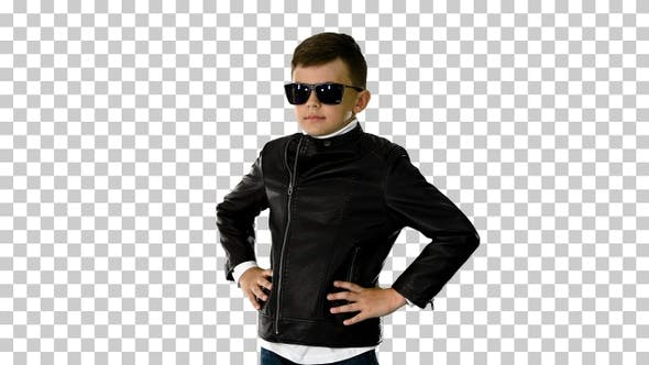 Thumbnail for Young boy in a leather jacket putting, Alpha Channel