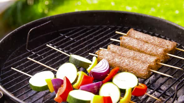 Thumbnail for Barbecue Kebab Meat and Vegetables on Grill