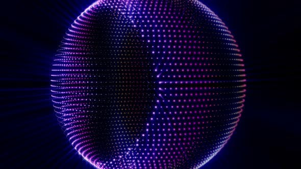 Discoball purple particles in a sphere