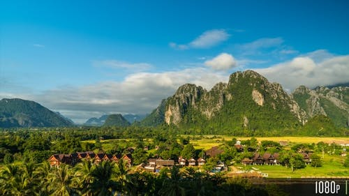 Time-Lapse of the Scenic Limestone Cliffs Countryside in Vang Vieng, Laos