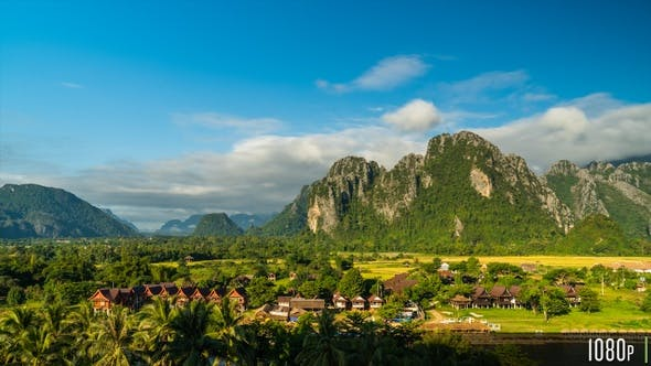 Thumbnail for Time-Lapse of the Scenic Limestone Cliffs Countryside in Vang Vieng, Laos