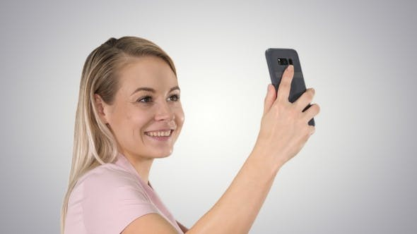 Thumbnail for Pretty attractive beautiful cute lady making selfie on