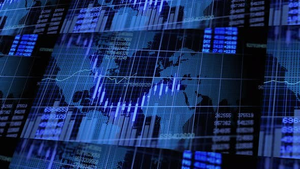 Thumbnail for Split Screen Stock Market Data Investment Infographic Background