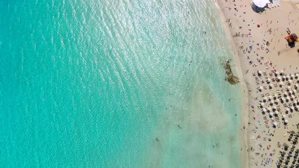 Sandy Beach Crystal Clear Waters Nissi Beach Island of Cyprus Aerial View