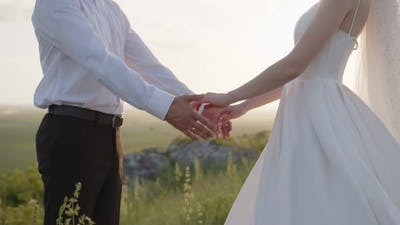 Close Up View of Bride's and Groom's Hands