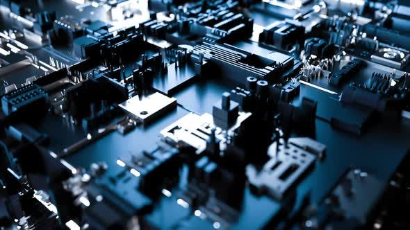 Thumbnail for Abstract futuristic circuit board or motherboard rotating