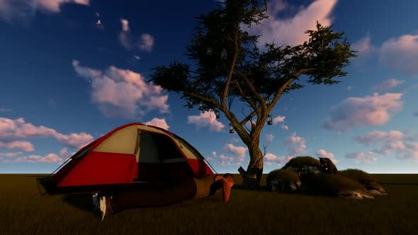 Thumbnail for Man Doing Sport on Camping Morning