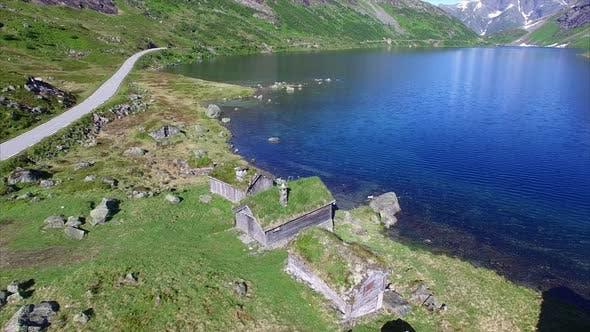 Aerial footage of norwegian old settlement