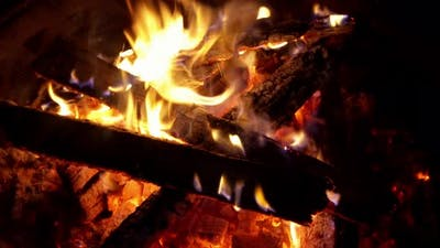 Fire, flames from wood ember for grill bbq firewood outdoor