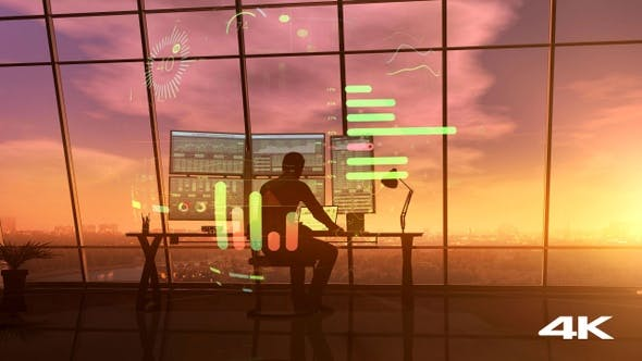 Thumbnail for Timelapse Shot Of A Trader Working From Dawn To Dusk 4K