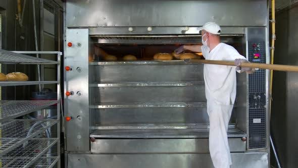 Chefkoch entfernt frisch gebackene Backwaren aus dem Ofen. Gebackenes Brot wird aus dem Ofen in einem