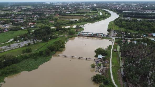 Aerial view Krian River across dam