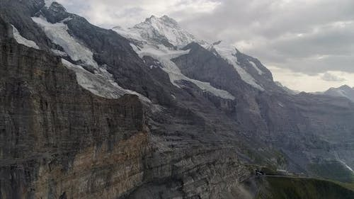 Aerial of Eiger Glacier and Jungfrau Bernese Alps, Switzerland