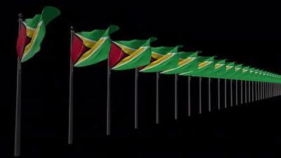 Row Of Guyana Flags With Alpha 4K
